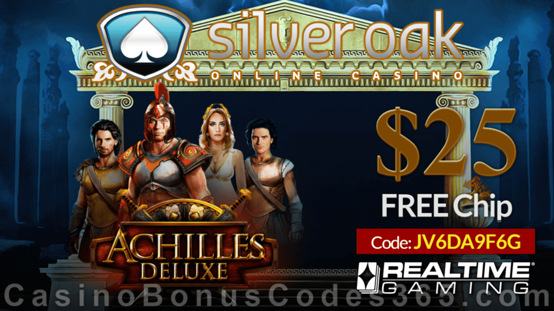 Silver Oak Online Casino  Achilles Deluxe New RTG Game $25 FREE Chip Pre Launch Special Offer