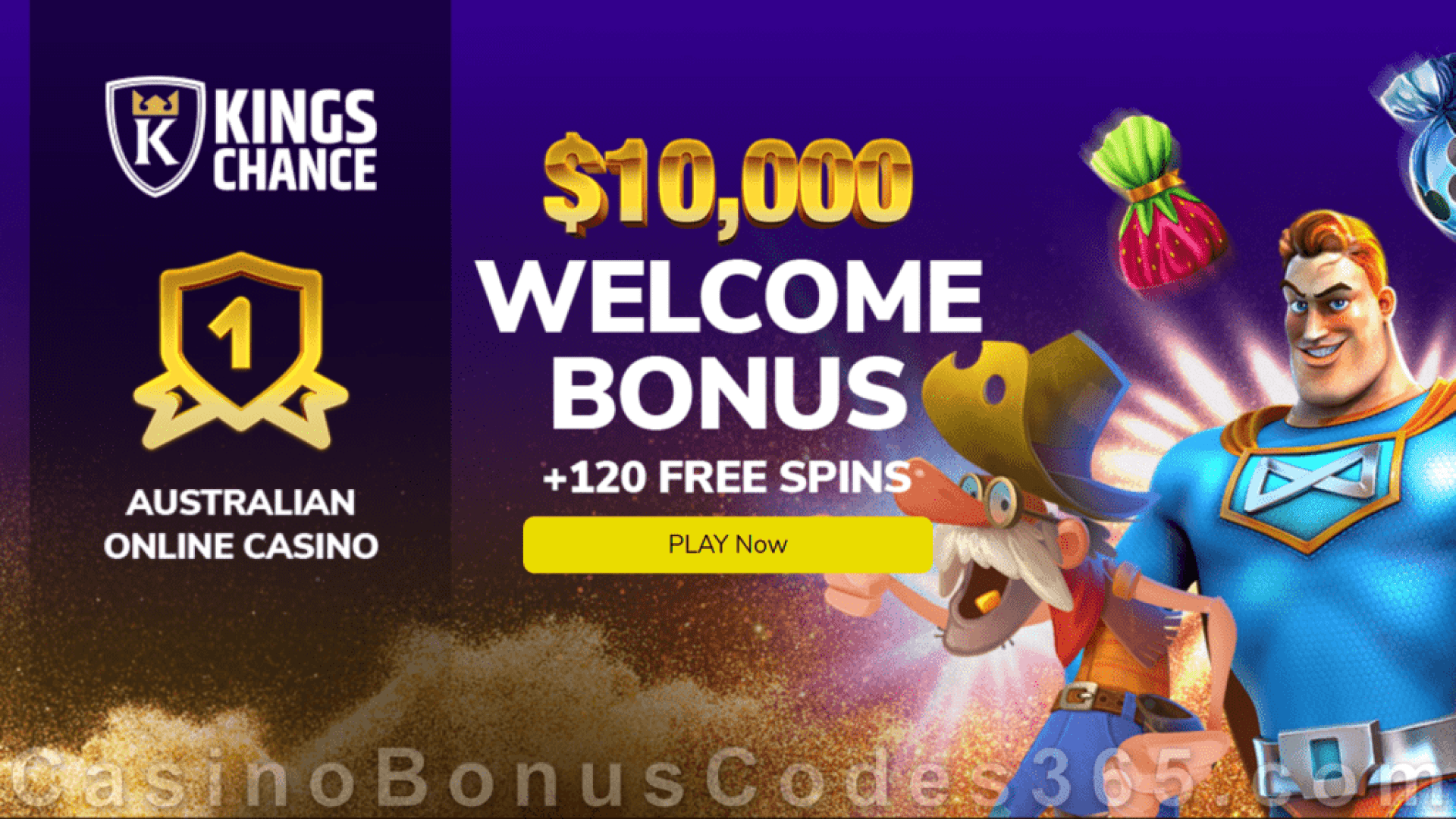 King Chance $10000 Bonus plus 120 FREE Spins New Players Welcome Pack