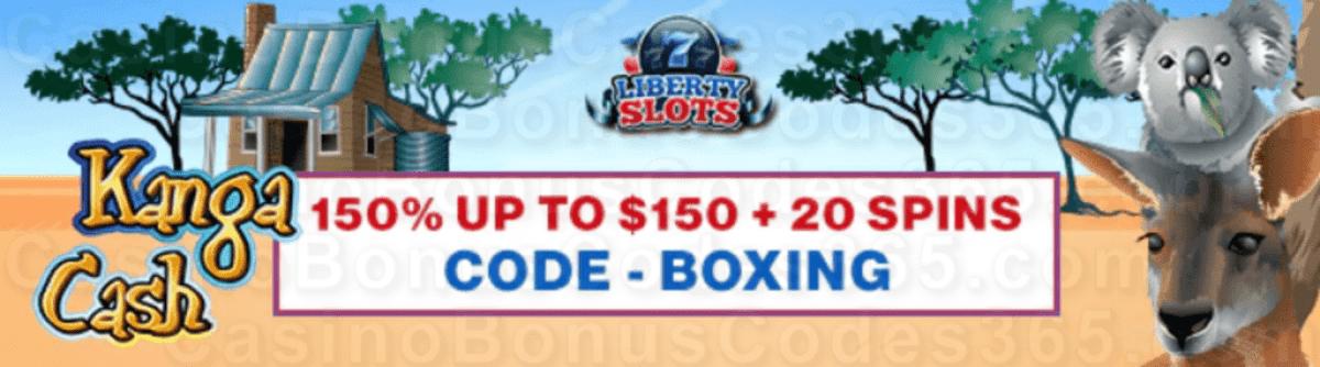 Liberty Slots 150% up to $150 Bonus plus 20 FREE WGS Kanga Cash Spins Welcome Pack