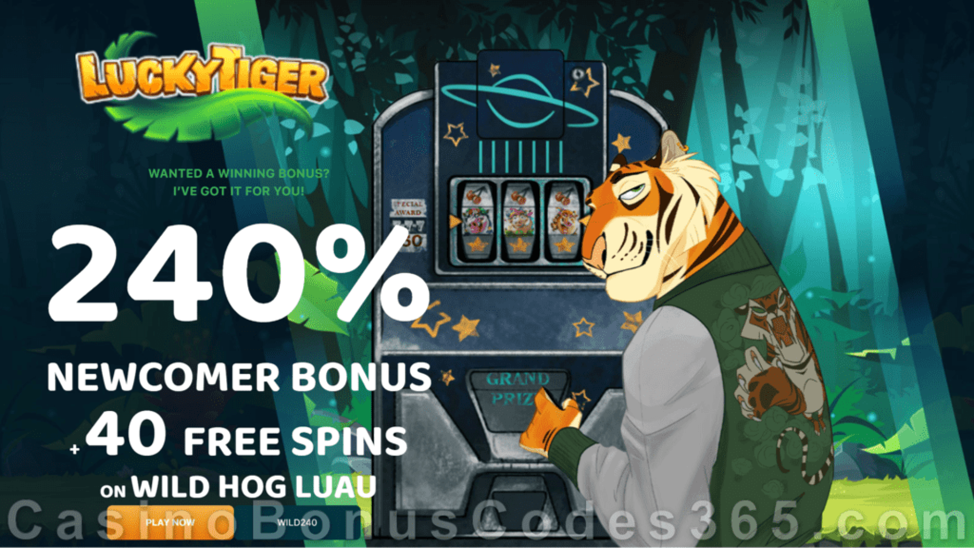 Lucky Tiger Casino 240% Match Bonus plus 40 FREE Spins on Wild Hog Luau Welcome Package