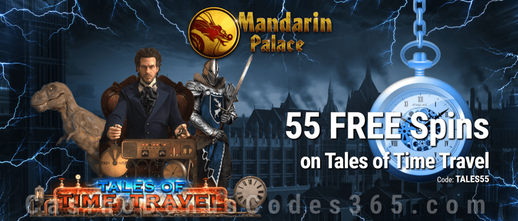 Mandarin Palace Online Casino 55 FREE Saucify Tales of Time Travel Spins Exclusive Deal