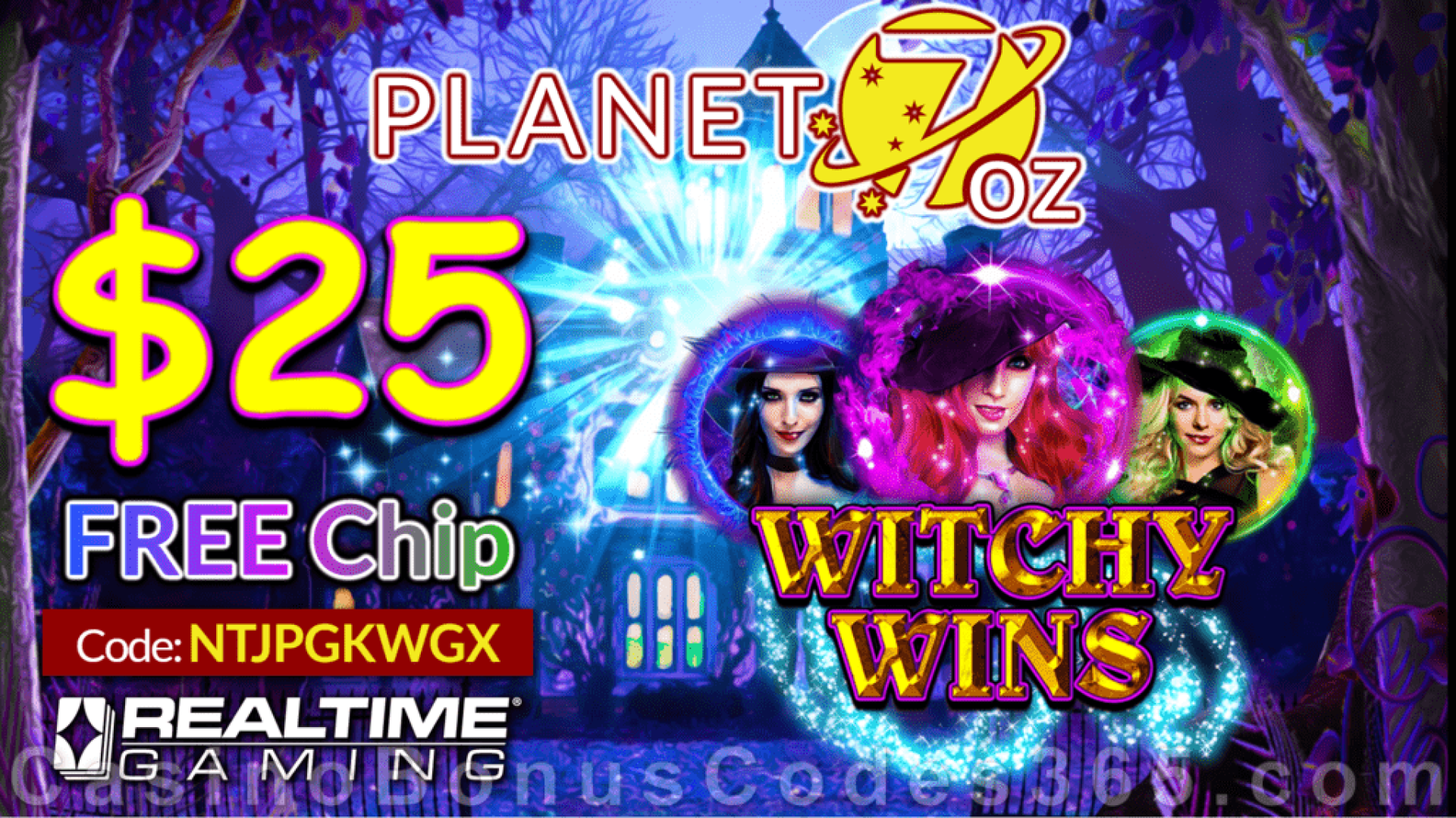 Planet 7 OZ Casino Witchy Wins New RTG Game $25 FREE Chip Special Offer