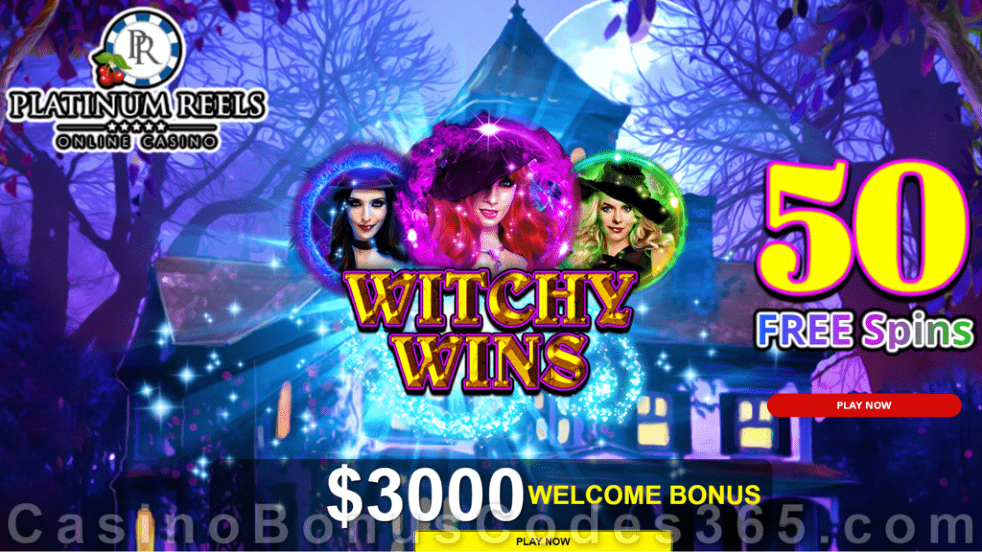 Platinum Reels 50 FREE Spins on Witchy Wins New RTG Game Special Deal