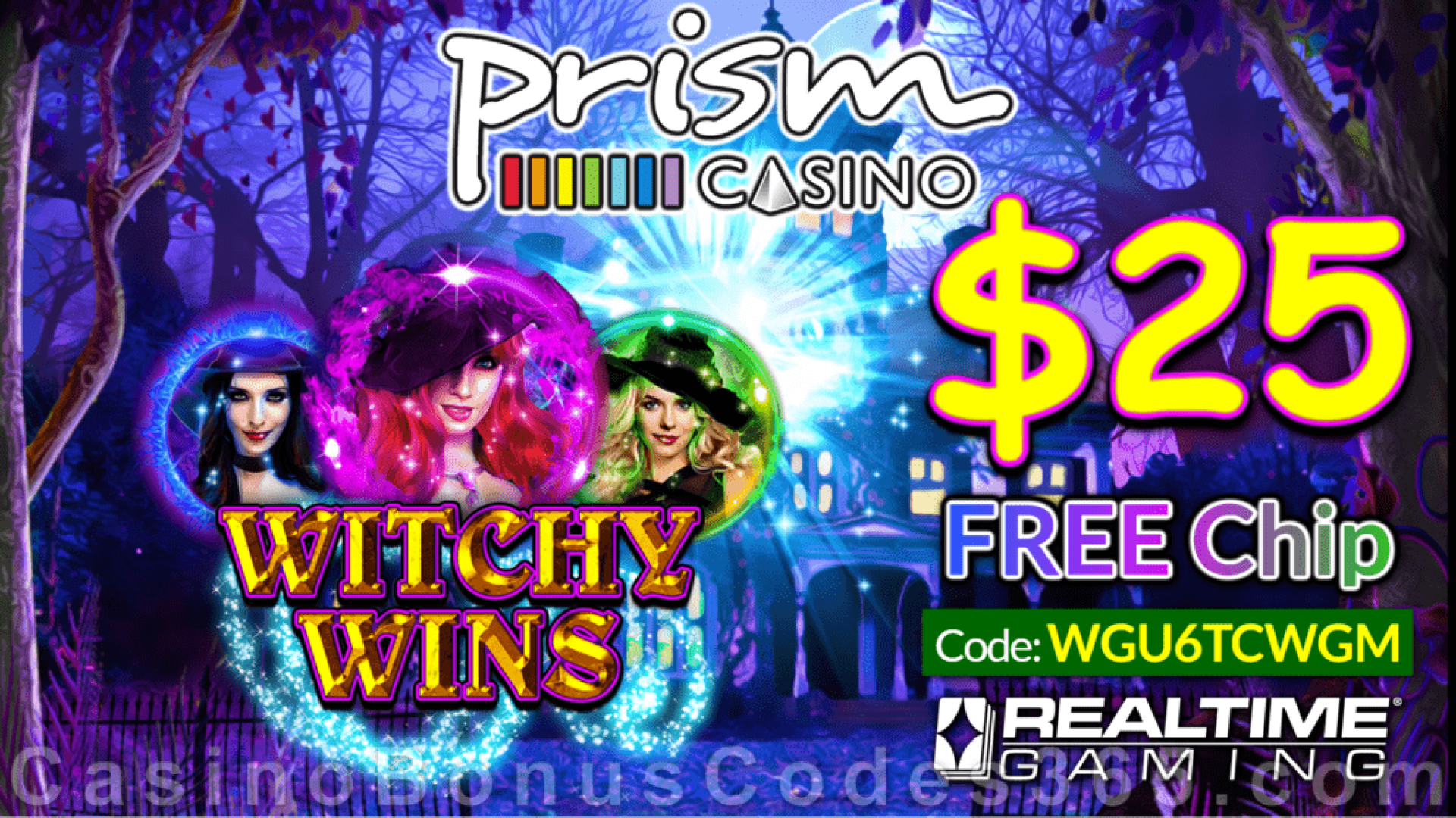 Prism Casino New RTG Game Witchy Wins $25 FREE Chip No Deposit Special Offer