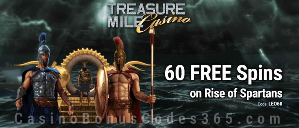 Treasure Mile Casino Saucify Rise of Spartans 60 No Deposit FREE Spins Exclusive Promo