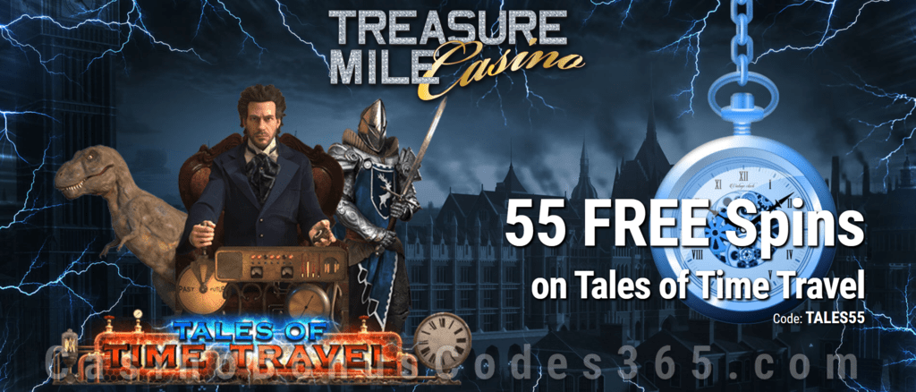 Treasure Mile Casino 55 Exclusive FREE Spins on Saucify Tales of Time Travel