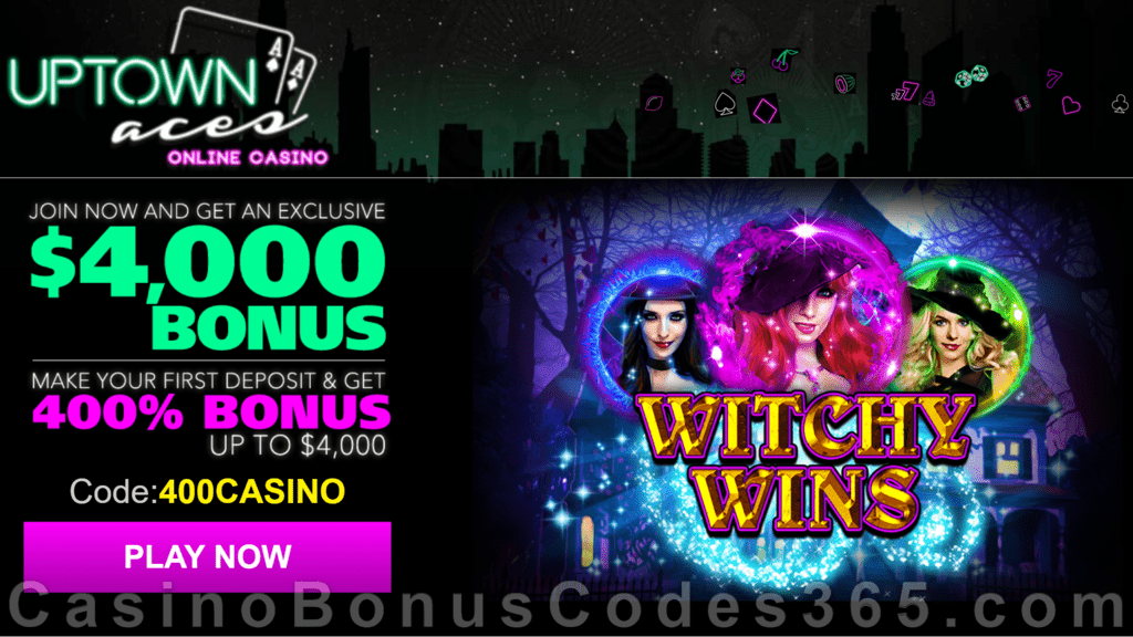 Uptown Aces Witchy Wins New Game 400% Welcome Bonus