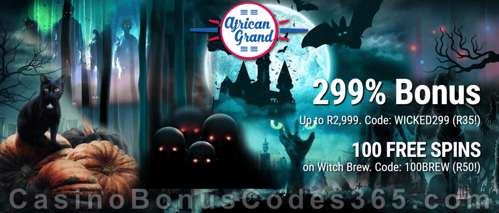 African Grand Online Casino 100 FREE Witch's Brew Spins and 299% Match Bonus plus 20 FREE Spins Special New RTG Game Welcome Deal