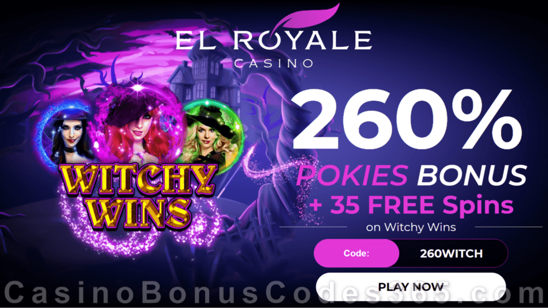El Royale Casino 260% Match plus 35 FREE RTG Witchy Wins Spins Welcome Bonus