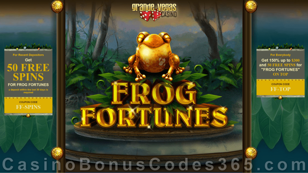 Grande Vegas Casino 150% up to $300 Bonus plus 150 FREE Spins on Frog Fortunes New RTG Game Special Promo