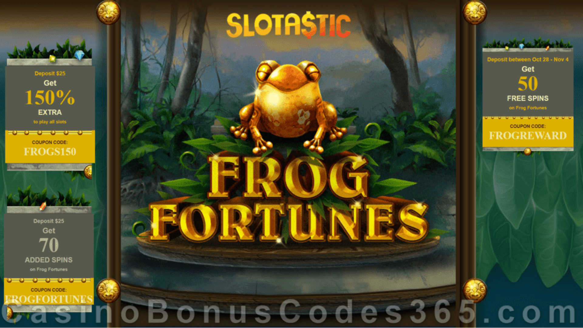 Slotastic Online Casino New RTG Game Frog Fortunes Bonus and FREE Spins Special Promotion