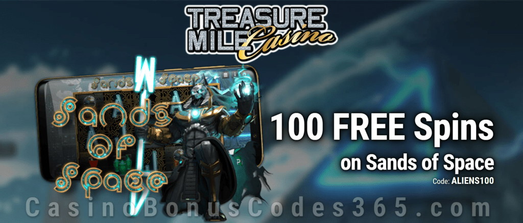 Treasure Mile Casino 100 No Deposit FREE Spins on Saucify Sands of Space