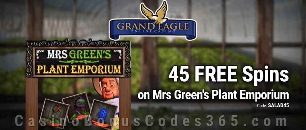 Grand Eagle Casino Exclusive 45 FREE Saucify Mrs Greens Plant Emporium Spins