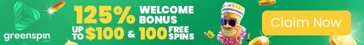 GreenSpin 125% Match Bonus plus 100 FREE Spins Welcome Package