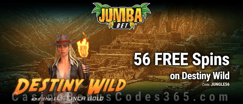 Jumba Bet Exclusive No Deposit 56 FREE Saucify Destiny Wild and the Lost Inca Gold Spins Offer