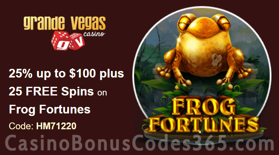 Grande Vegas Casino 25% up to $100 plus 50 FREE Spins on RTG Frog Fortunes Special Weekly Deal