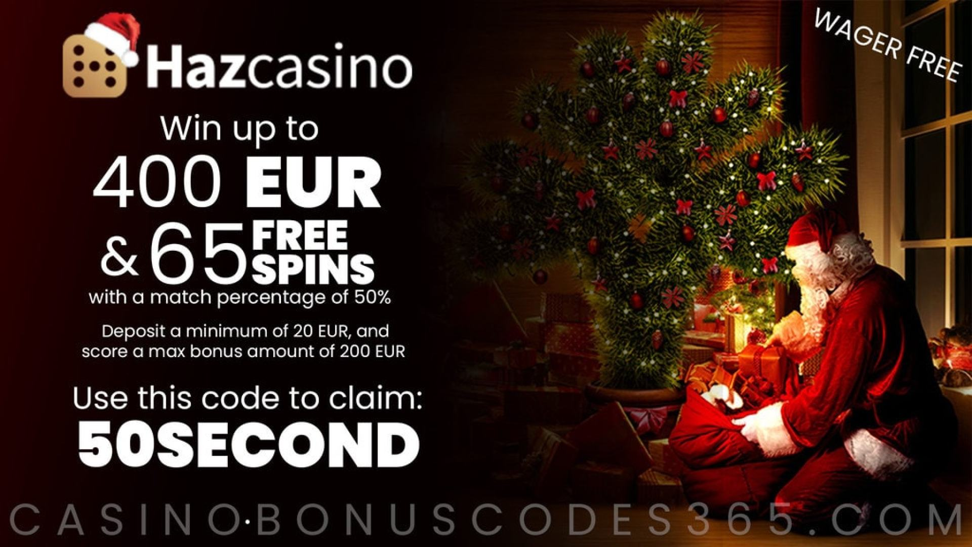 Haz Casino 50% Match plus 65 FREE Spins on top Festive New Players Offer