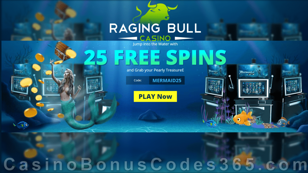 Raging Bull Casino 25 FREE RTG Mermaid's Pearls Spins