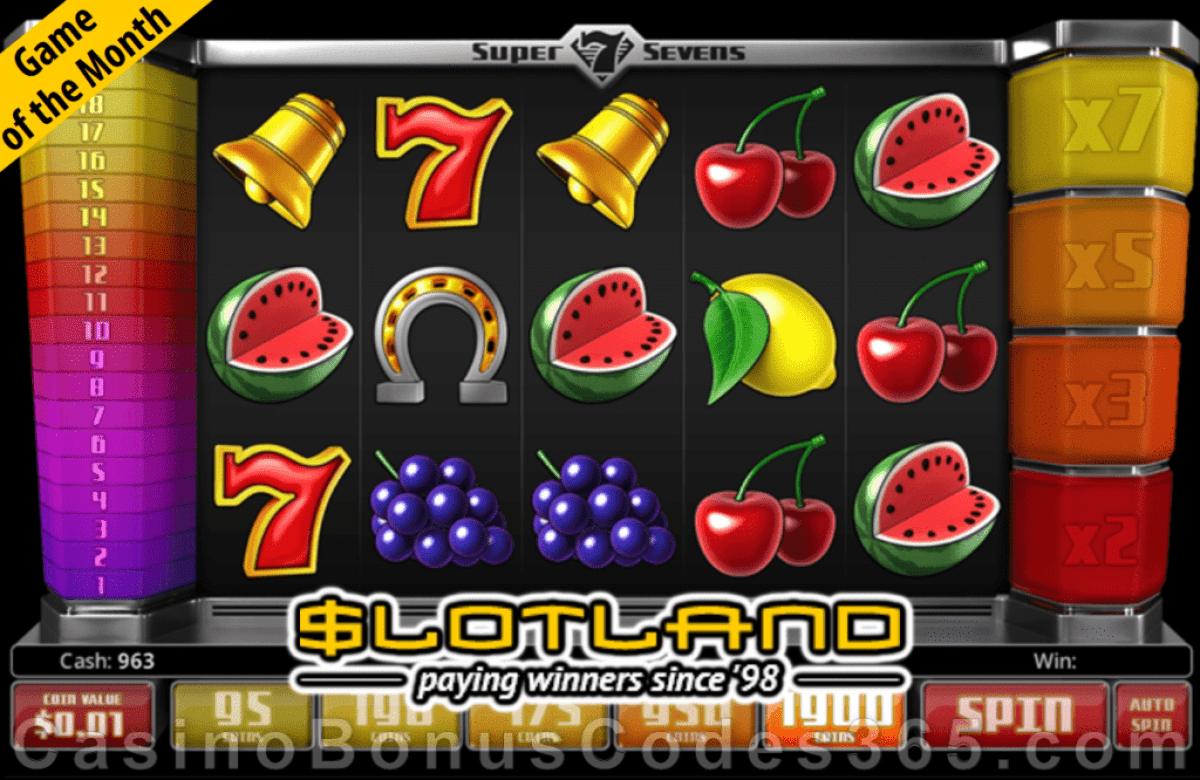 Slotland Casino December Game of the Month Super Sevens