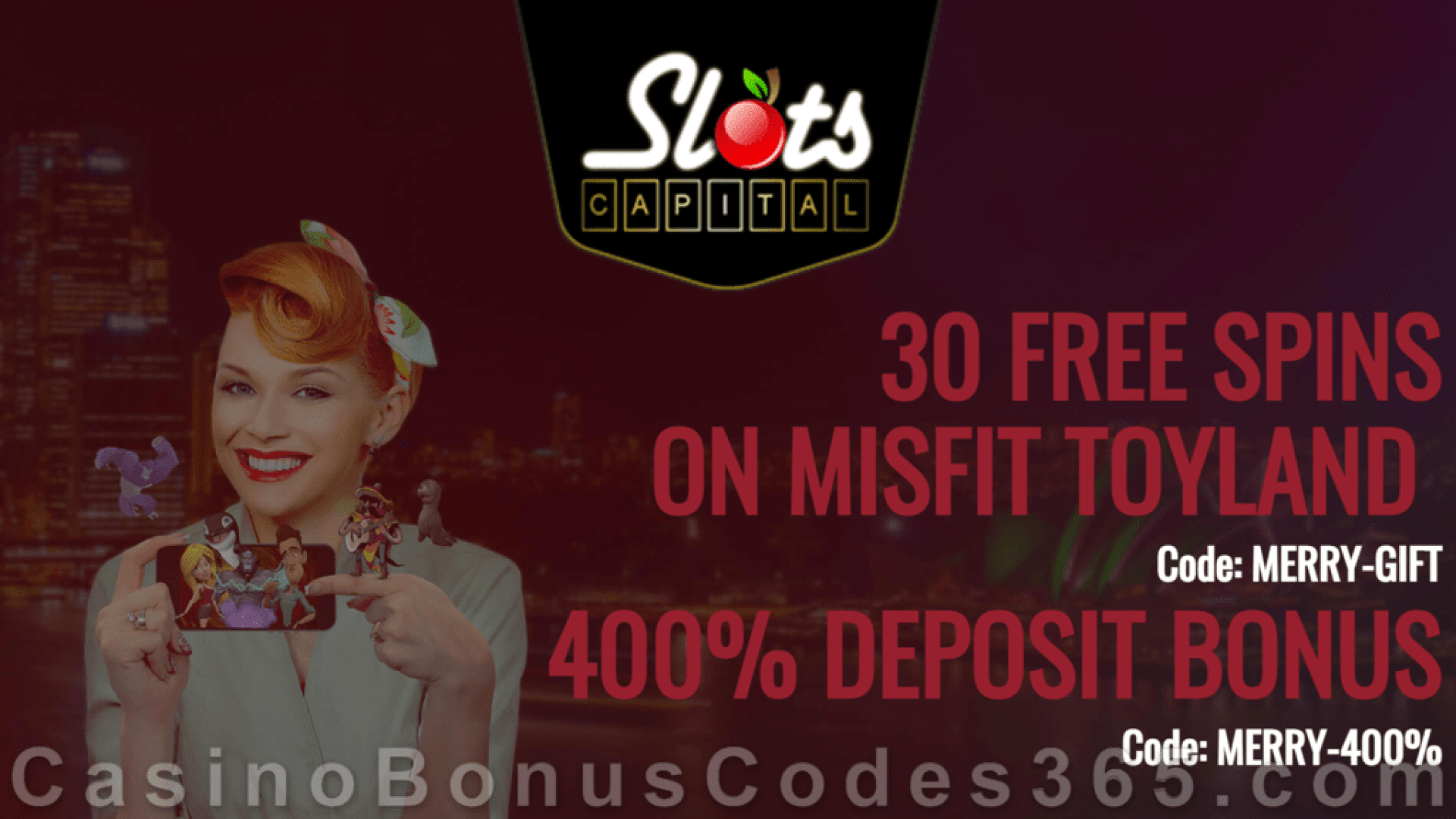 Slots Capital Online Casino 30 FREE Spins on Rival Gaming Misfit Toyland plus 400% Match Bonus Holiday Season Special Deal
