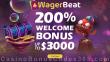 Wager Beat Casino 200% up to $3000 Welcome Bonus