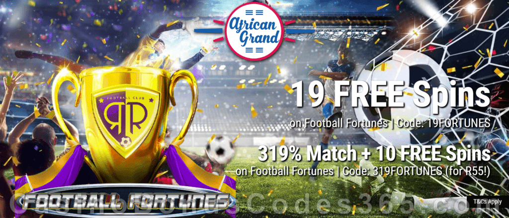 African Grand Online Casino 19 FREE Football Fortunes Spins and 150% Match Bonus plus 25 FREE Spins Special New RTG Game Welcome Deal