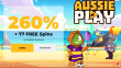 AussiePlay Casino 260% Match Pokies Bonus plus 77 FREE Football Fortunes Spins New RTG Game Welcome Offer