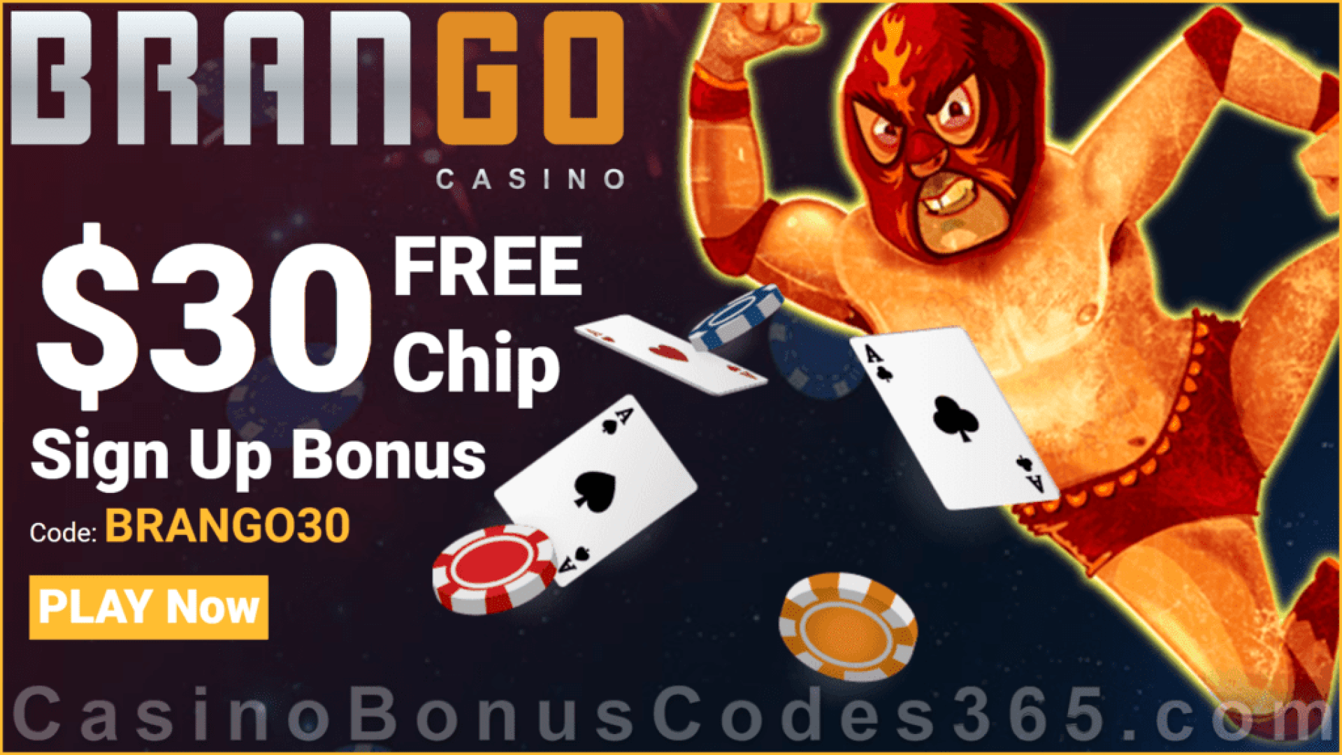 Casino Brango $30 FREE Chip Sign Up Bonus RTG