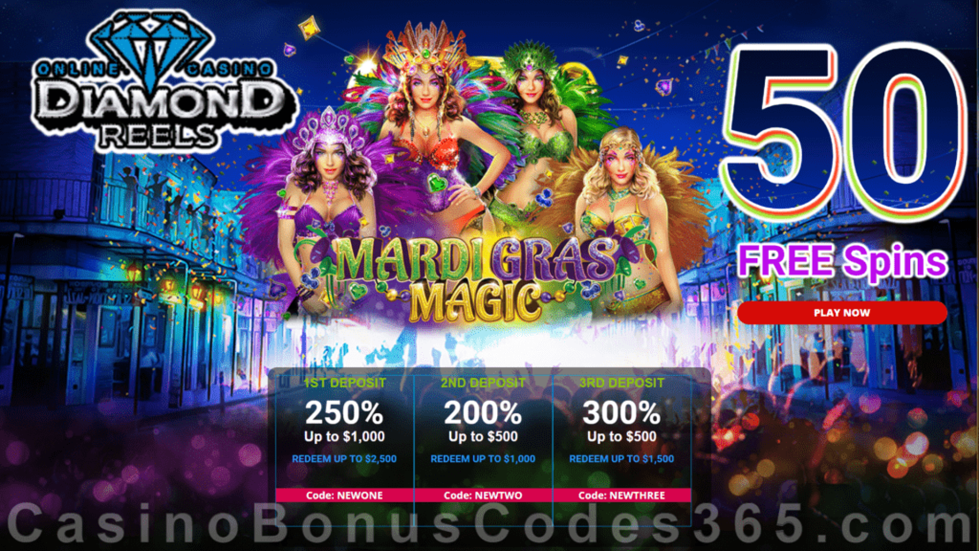 Diamond Reels Casino 50 FREE Mardi Gras Magic Spins New RTG Game Special Promo