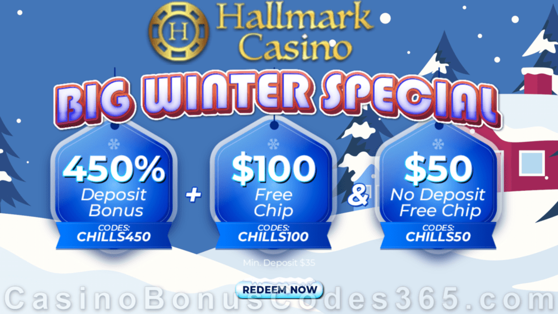 Hallmark Casino Amazing $50 No Deposit FREE Chip and 450% Match Bonus plus $100 FREE Chip Promotion