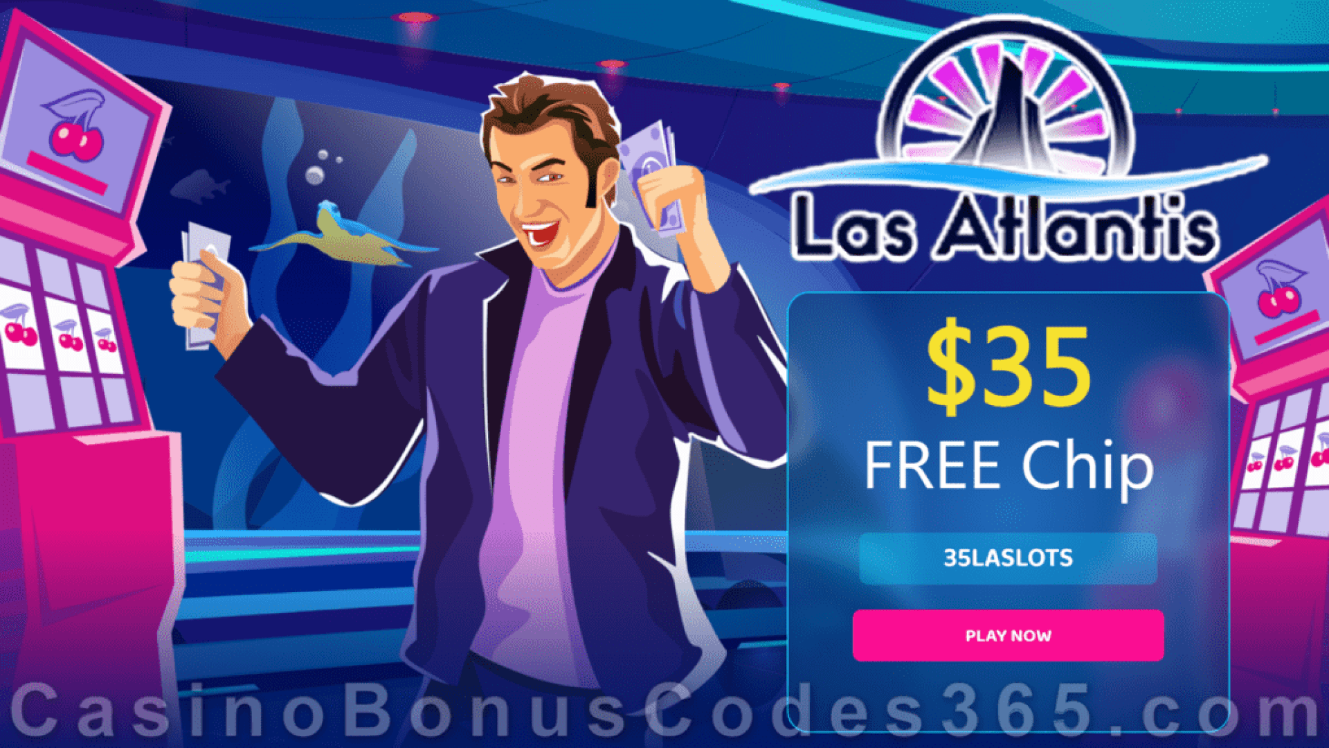 Las Atlantis Casino $35 FREE Chip No Deposit Special Welcome Deal
