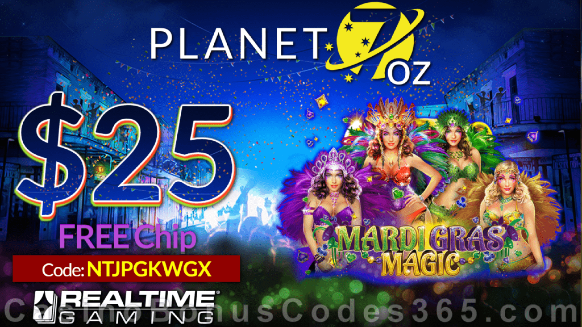 Planet 7 OZ Casino New RTG Game Mardi Gras Magic Pre Launch $25 FREE Chip Special No Deposit Offer