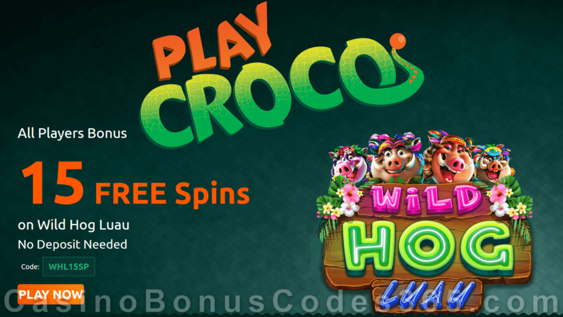 PlayCroco 15 FREE RTG Wild Hog Luau Spins All Players Special Deal