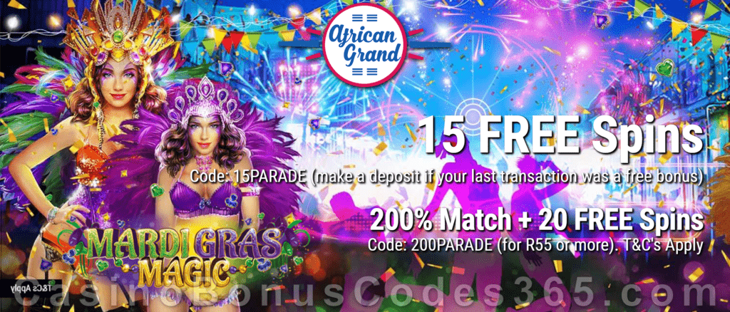 African Grand Online Casino 15 FREE Mardi Gras Magic Spins and 150% Match Bonus plus 25 FREE Spins Special New RTG Game Welcome Deal