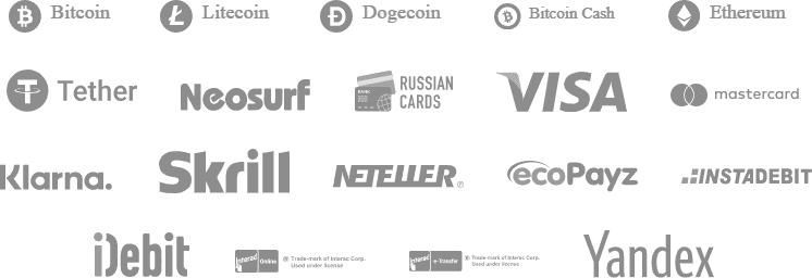 BitcoinCasino.io Banking Options Bitcoin Litecoin Dogecoin Bitcoin Cash Ethereum Tether Neosurf Russian Cards Visa Mastercard Klarna Skrill Neteller ecoPayz Instadebit iDebit Yandex Interac Online Interac etransfer