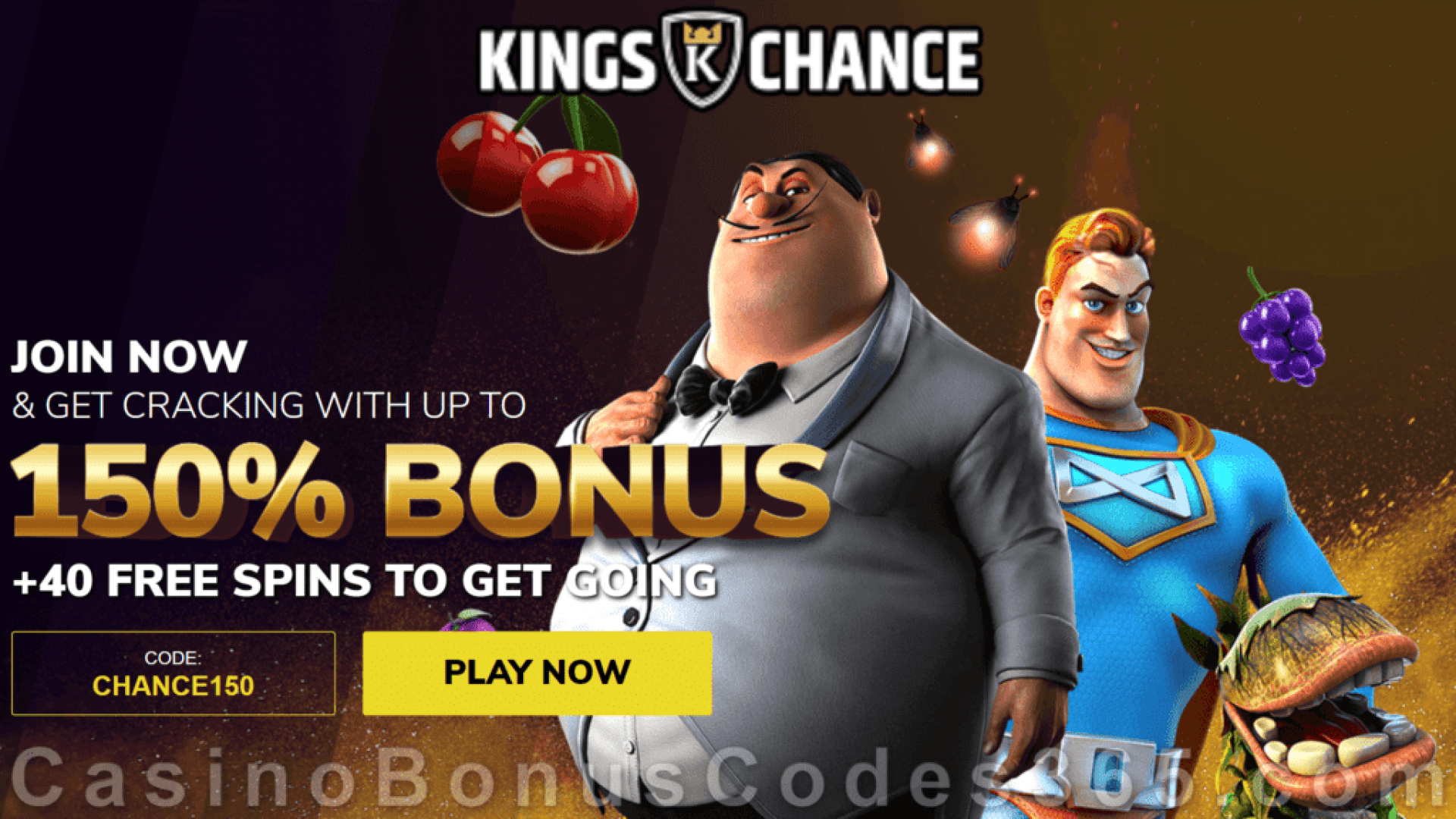 King Chance 150% Match 40 FREE Spins Bonus Package Betsoft