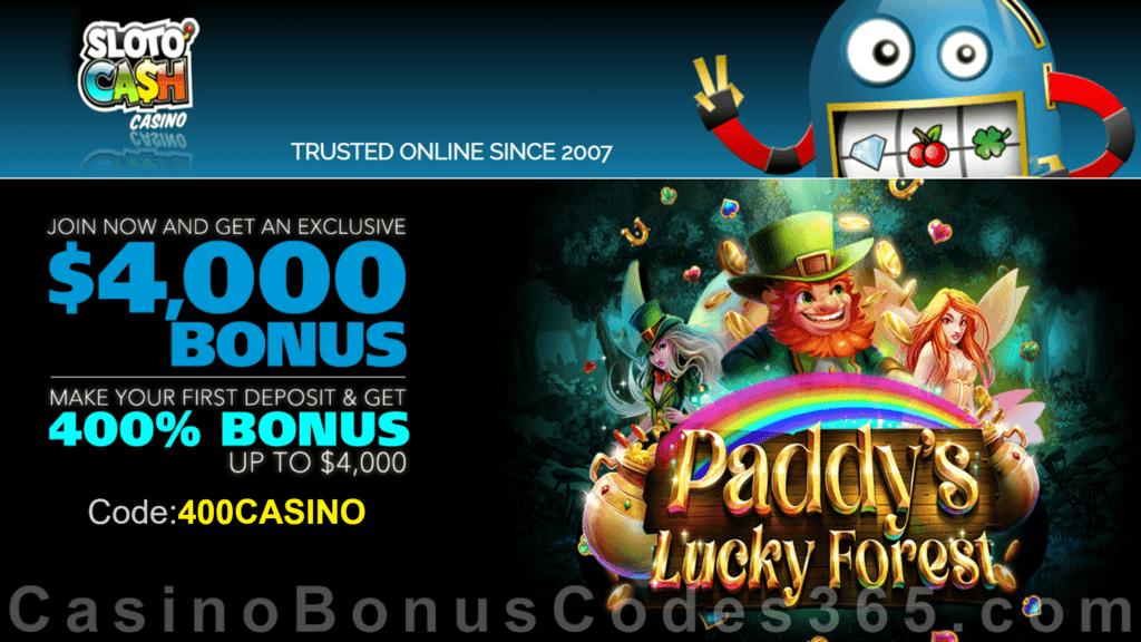 SlotoCash Casino RTG Paddy's Lucky Forest 400% Welcome Bonus