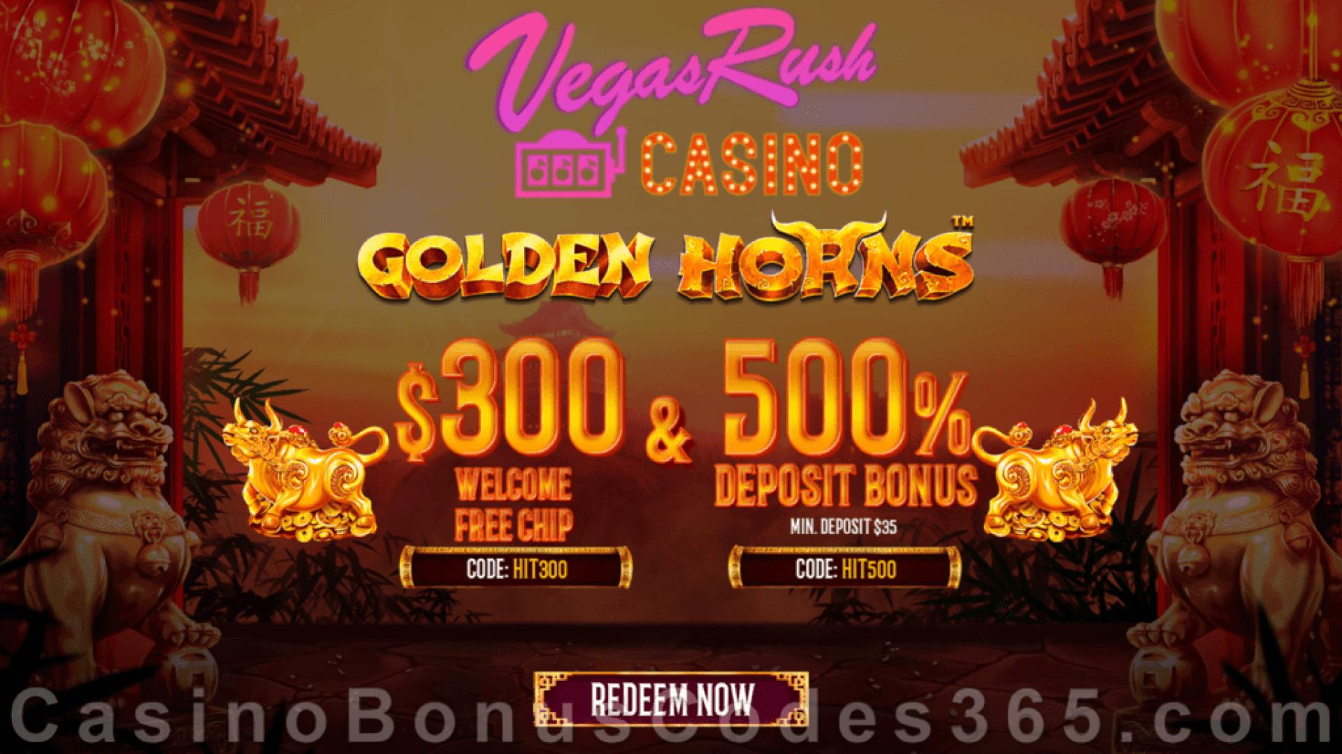 Vegas Rush Casino $100 No Deposit FREE Chip plus 500% Match Bonus Limited Time Offer