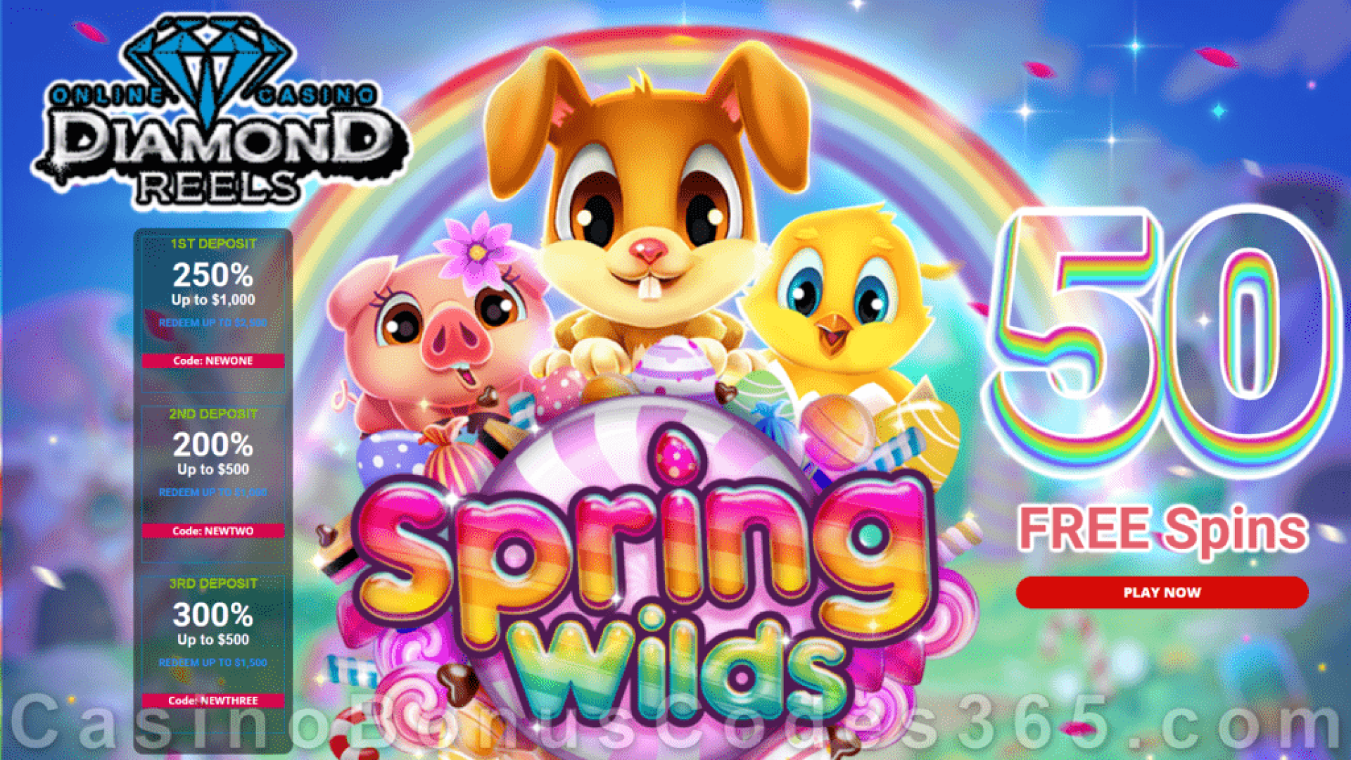 Diamond Reels Casino 50 FREE Spring Wilds Spins New RTG Game Special Promo