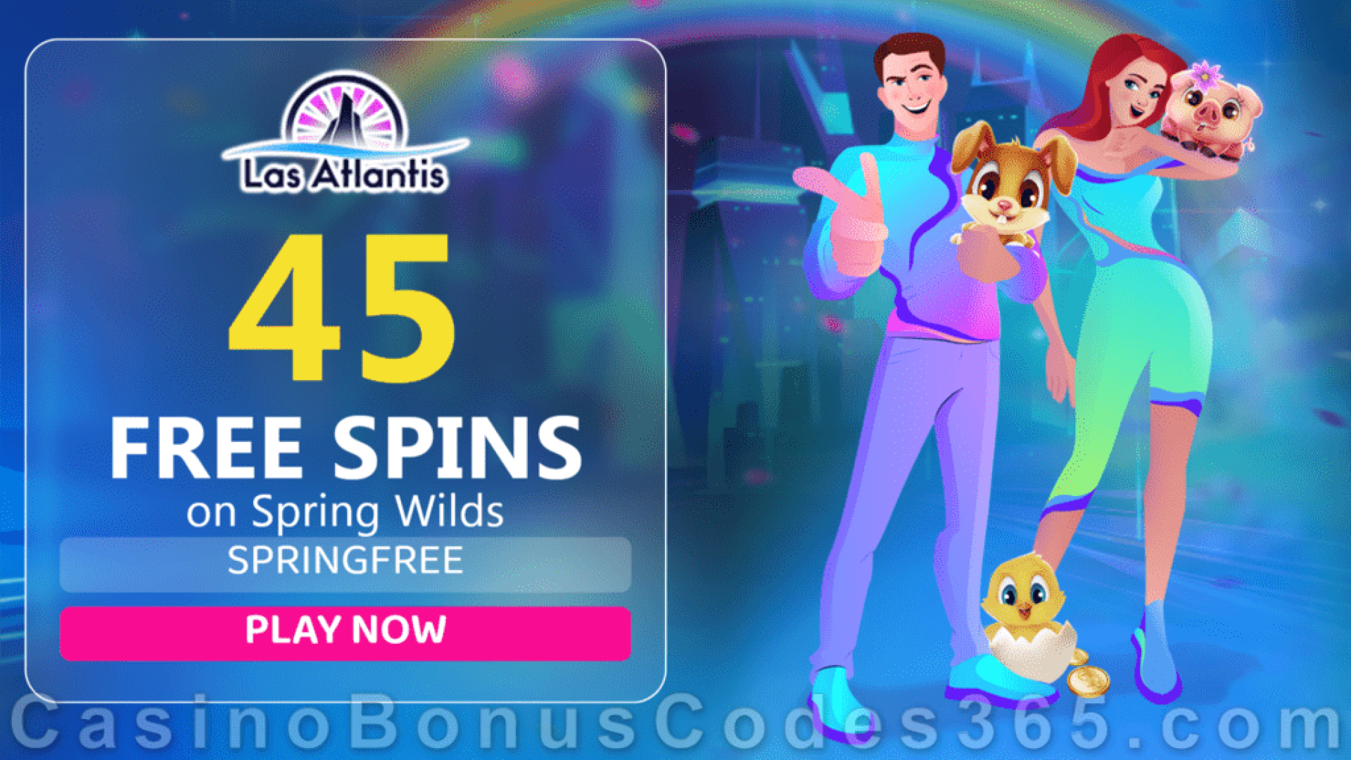 Las Atlantis Casino 45 FREE Spins on Spring Wilds New RTG Game Special Deal