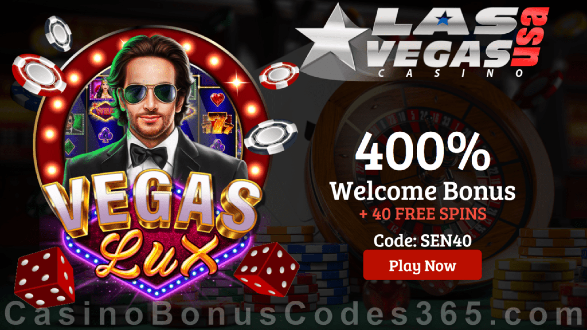 Las Vegas USA Casino 40 FREE RTG Vegas Lux Spins plus 400% Match Bonus Best Game of the Year Special Offer