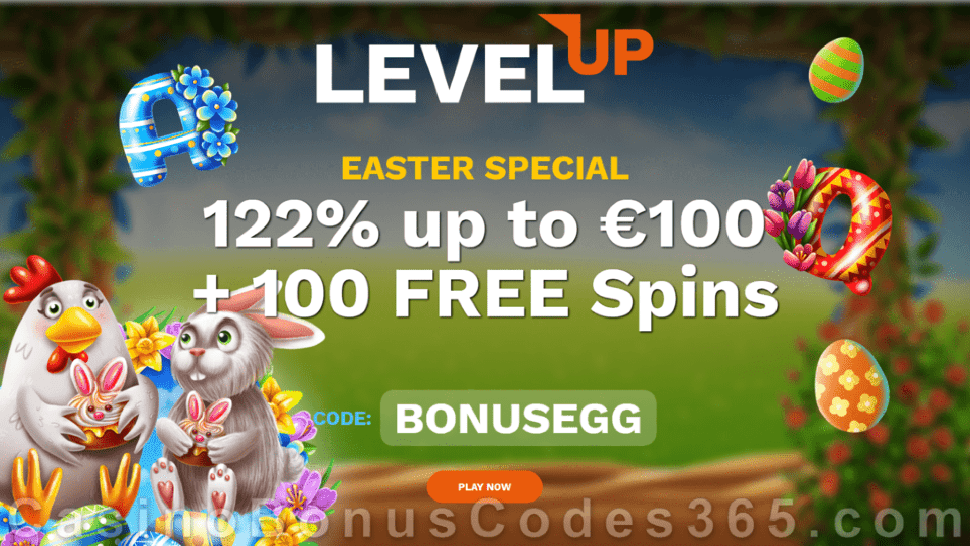 LevelUp Casino 122% Match plus 100 FREE BGAMING Hello Easter Spins Special Easter Day New Players Promo