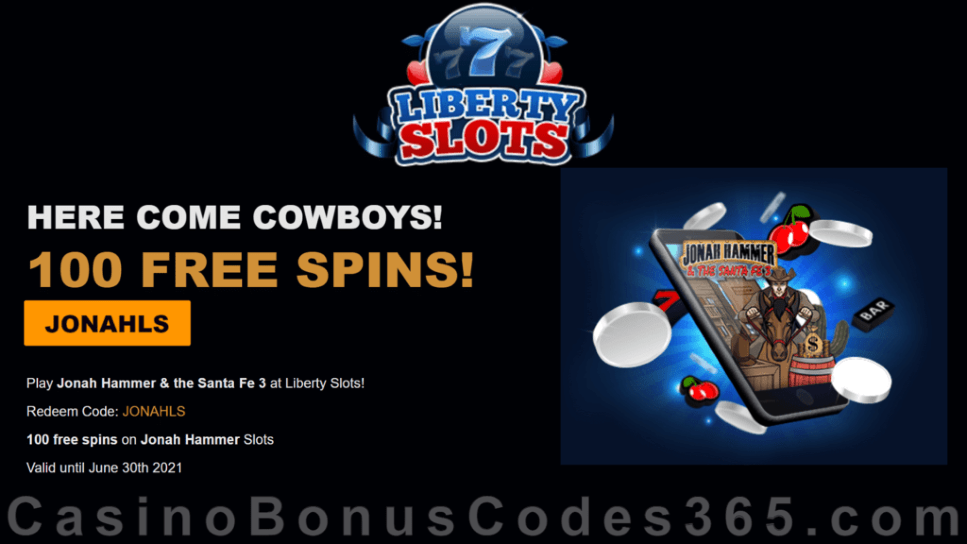 Liberty Slots 100 FREE Jonah Hammer Spins New WGS Game No Deposit Deal