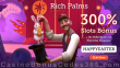 Rich Palms Casino 300% Match Slots Bonus plus 50 FREE RTG Plentiful Treasure Spins Easter Super Promo