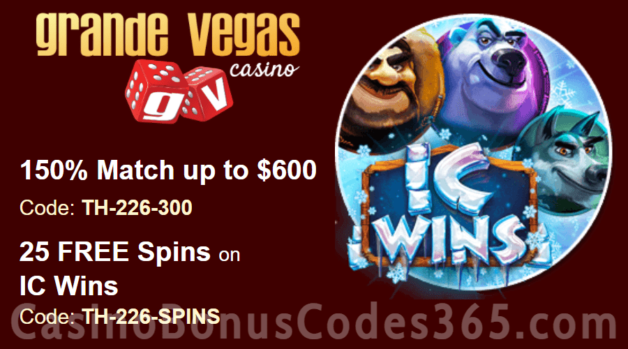 Grande Vegas Casino 150% up to $300 Bonus plus 25 FREE RTG RTG Cleopatra's Gold Spins Special Offer