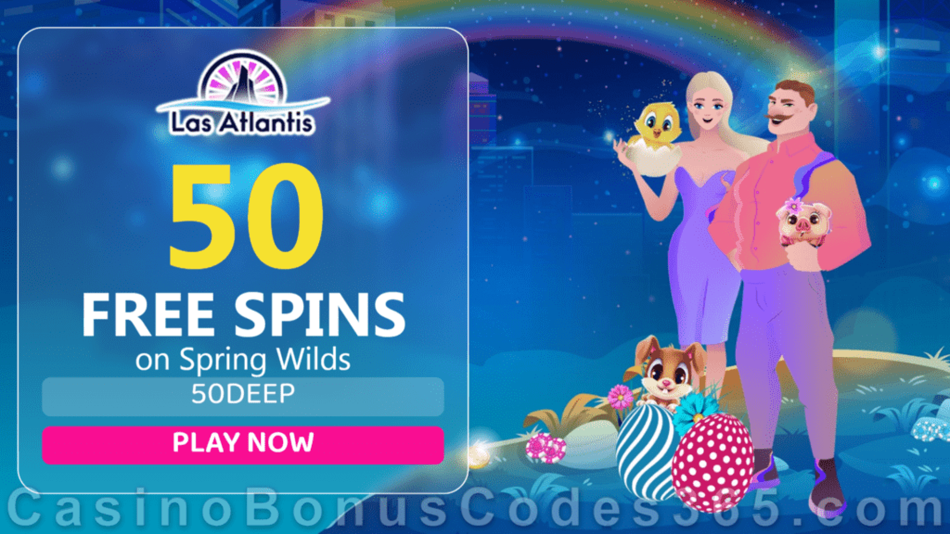 Las Atlantis Casino 50 FREE Spins on Spring Wilds New RTG Game Special Deal