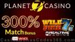 Planet 7 Casino 300% Match Bonus Special Deal RTG Wild Fire 7s