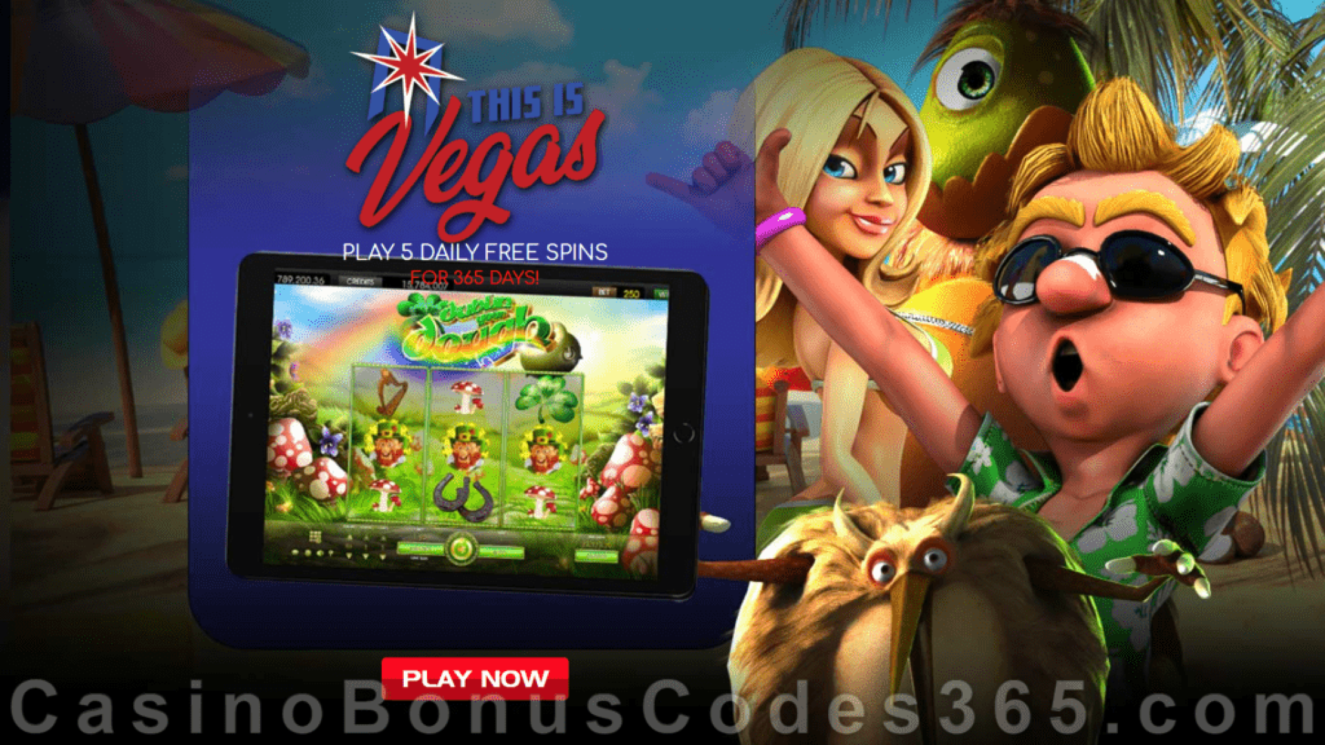This is Vegas Casino 5 FREE Spins for 365 Days Mega Offer
