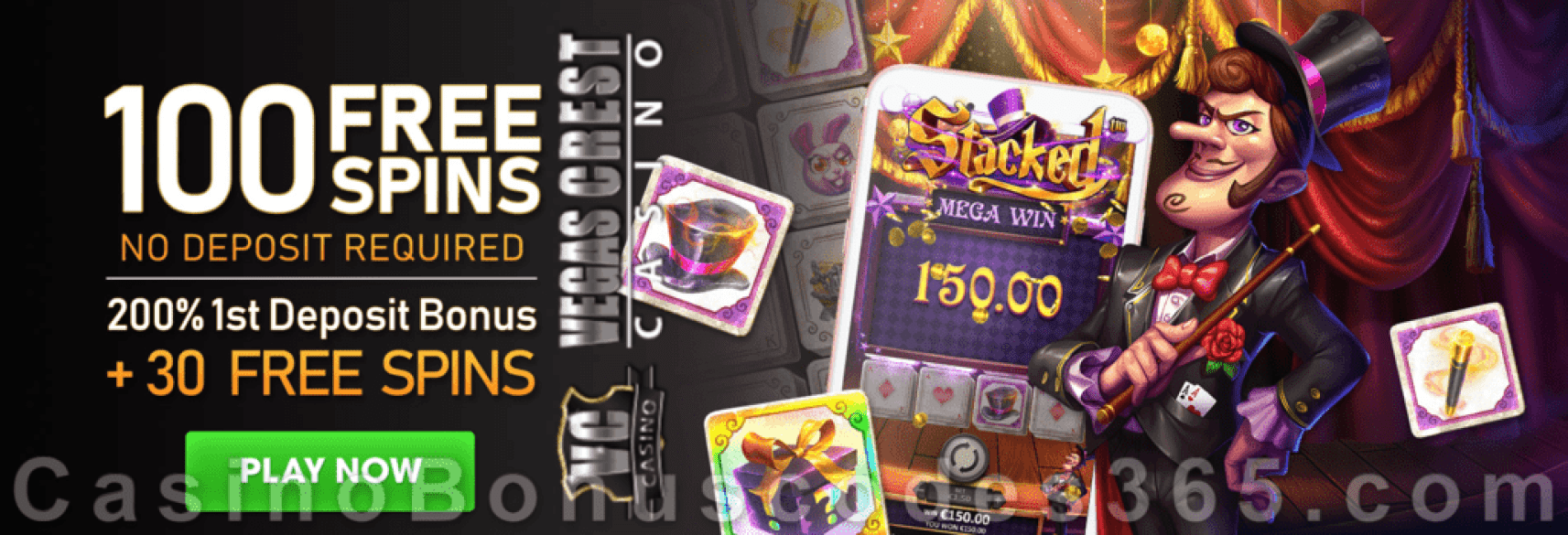 Vegas Crest Casino 100 FREE Betsoft Stacked Spins and 200% Match Bonus plus 30 FREE Spins Special Welcome Pack