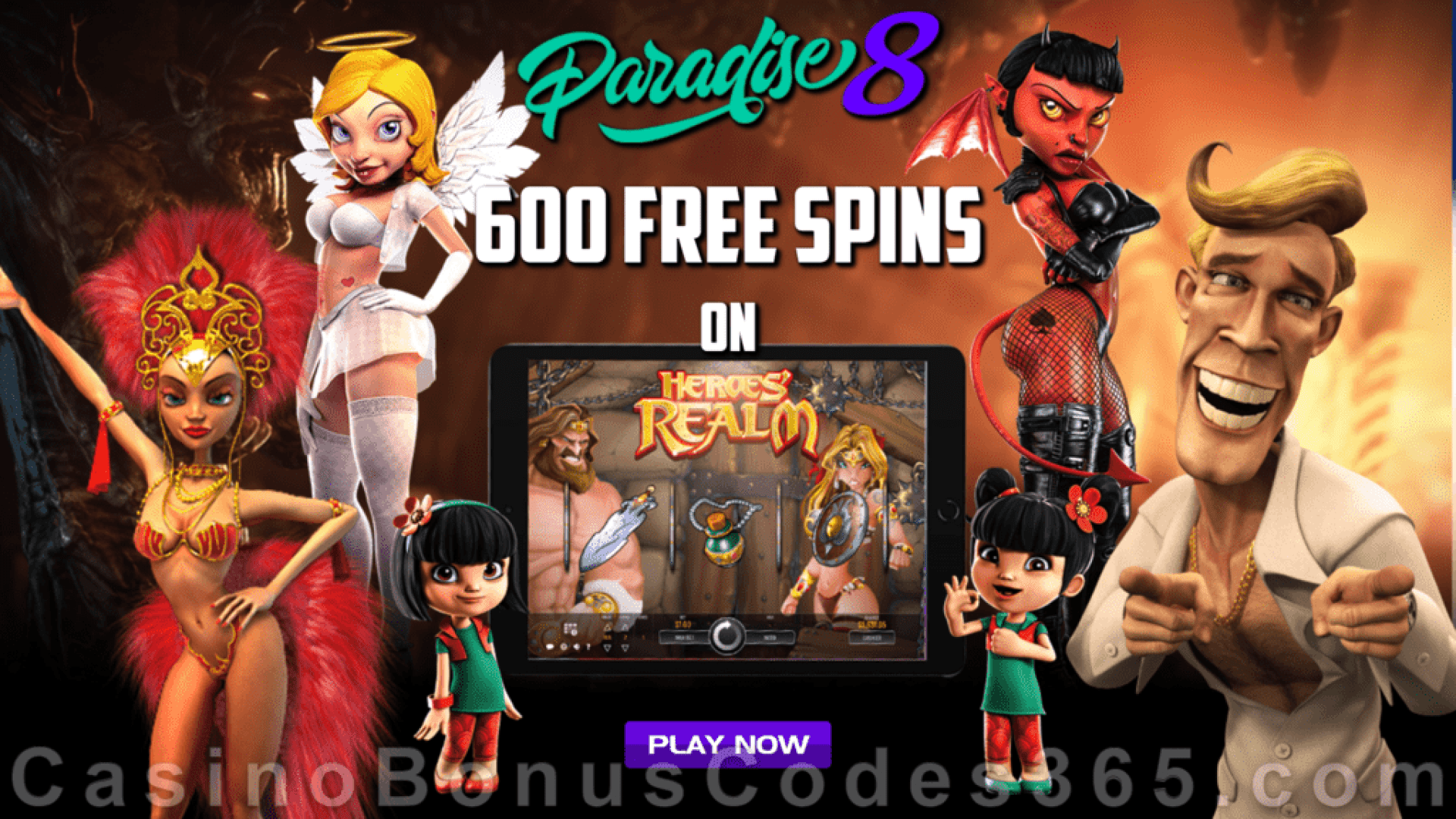 Paradise 8 5 FREE Spins for 365 Days Mega Offer Heroes' Realm Rival Gaming Game Special Deal